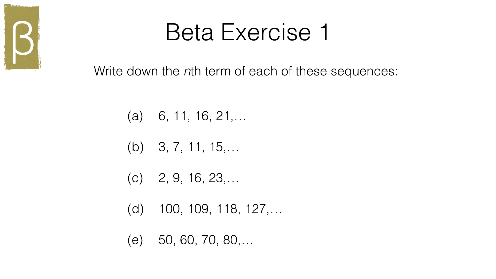 A25a Finding The Nth Term Of A Linear Sequence