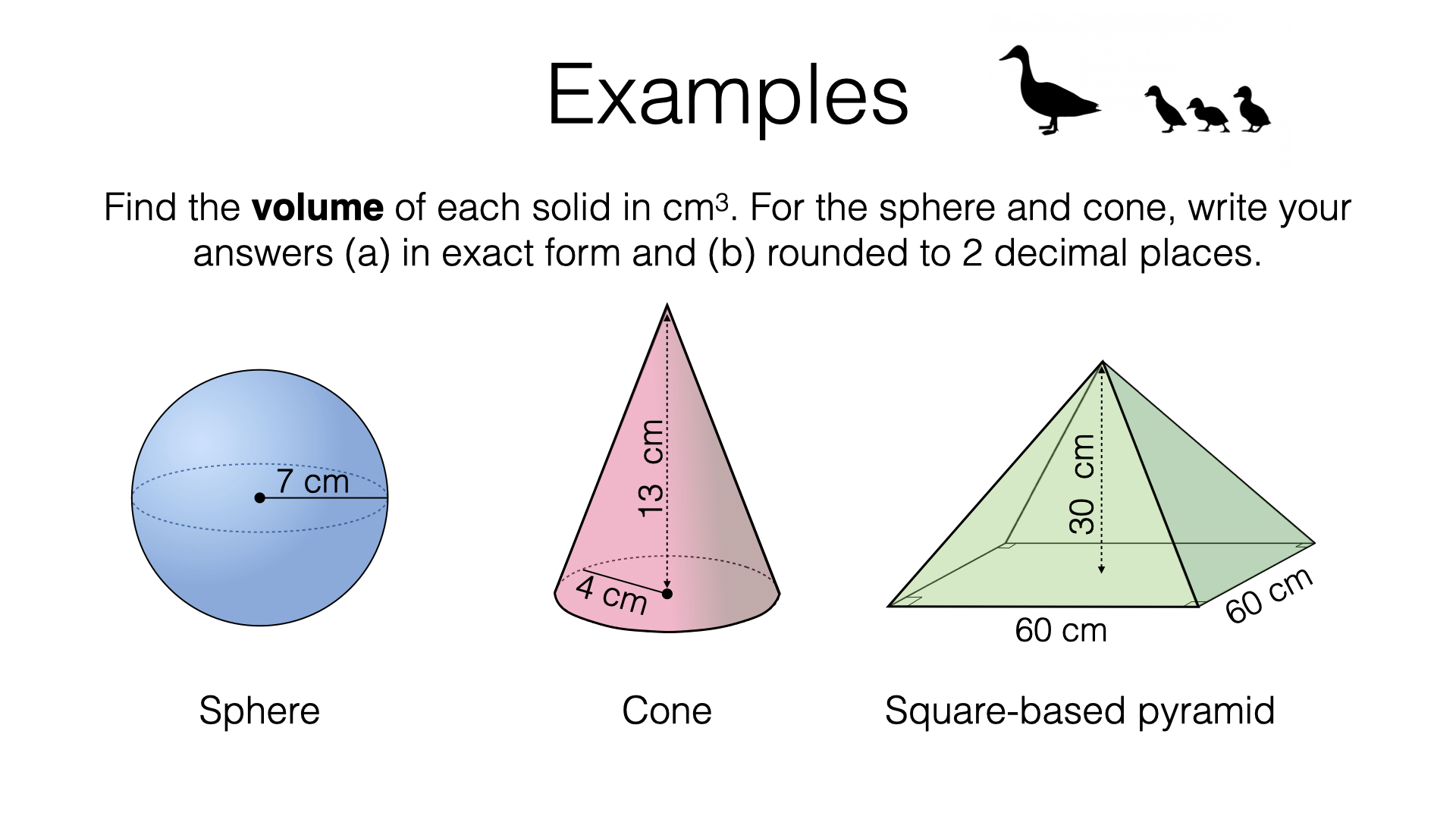 G17g Volume Of Spheres Pyramids And Cones Bossmaths