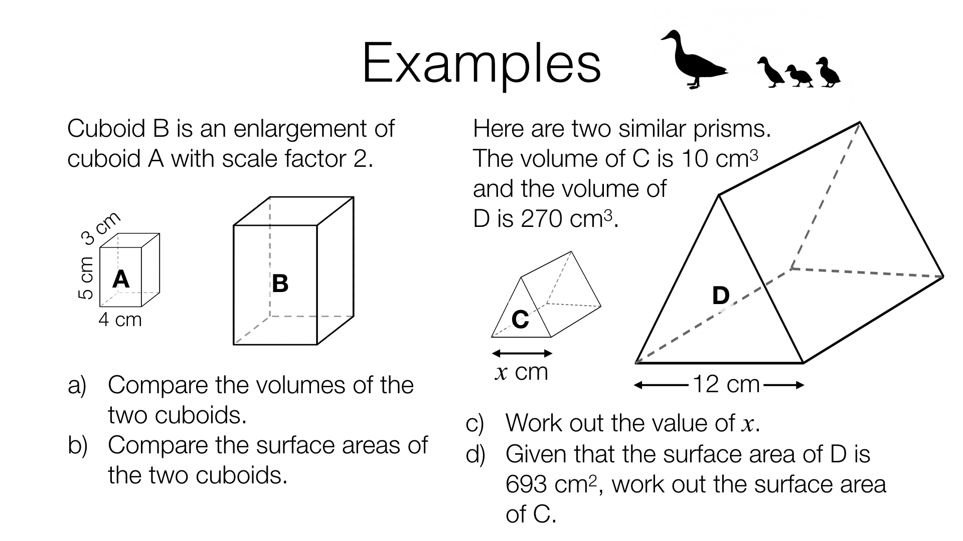 G19a Lengths Areas And Volumes In Similar Shapes Bossmaths