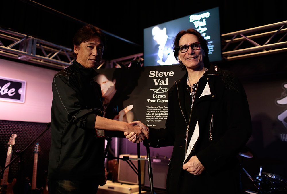 Steve Vai with Mr. Yoshihiro Ikegami, President of BOSS