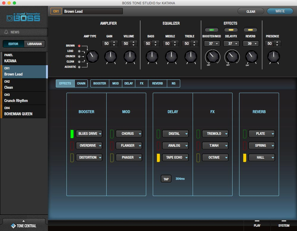 BOSS Tone Studio for Katana: main Editor screen.
