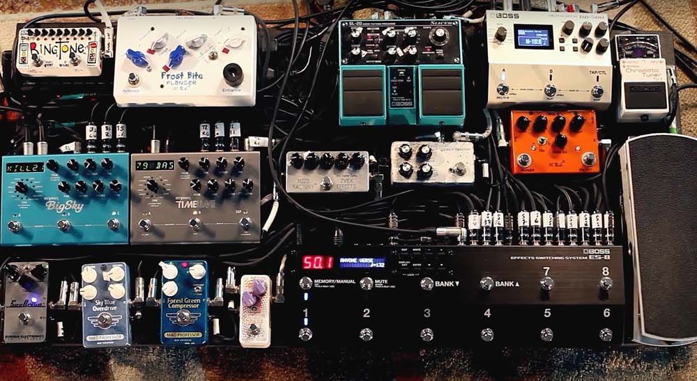 Just a few of the pedals that Sef controls with his ES-8 Effects Switching System.
