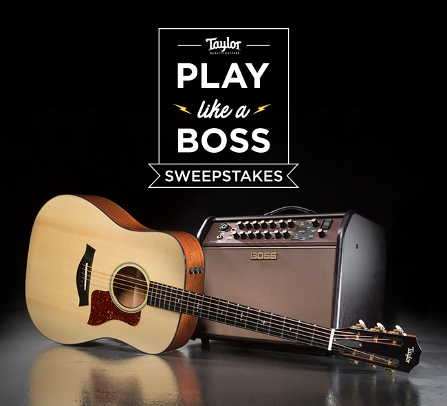 enter to win taylor guitar and boss acoustic guitar amp. Black Bedroom Furniture Sets. Home Design Ideas