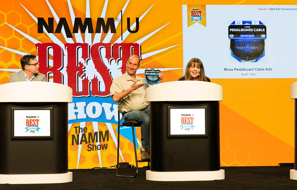 Rand and Cindy Cook during the 2018 NAMM Best in Show Awards honoring the BOSS Pedalboard Cable Kit.