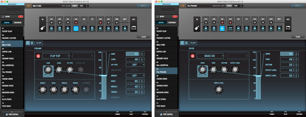 Screenshots from the BOSS Tone Studio editor for the GT-1B.