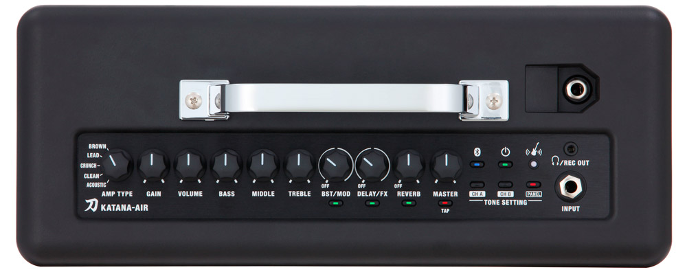 The Katana-Air has a panel layout that's very similar to the stage-class Katana amplifiers.