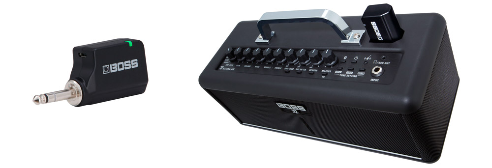 The Katana-Air's transmitter docks in the amp for charging and automatically establishing the wireless connection.