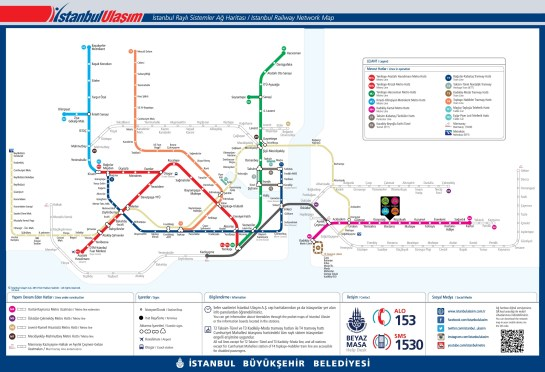 İstanbul Public Transportation Map - Metro Metrobus and Tram lines