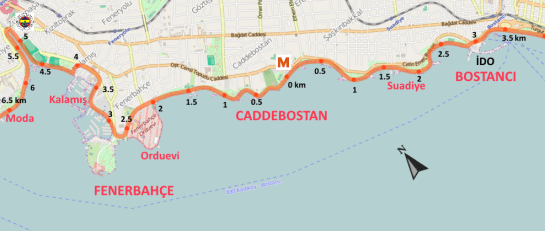 caddebostan sahil bisiklet kiralama - mesafe haritası