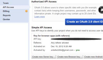 membuat api key google 3
