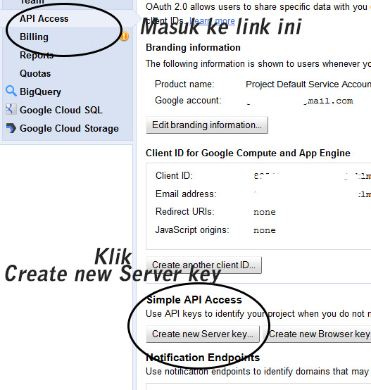 google api key newserverkey