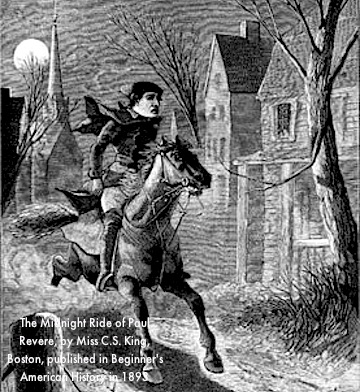 "Drawing of Midnight Ride of Paul Revere, by Miss C. S. King of Boston, published in ""Beginner's American History"" by D. H. Montgomery.  Boston: Ginn & Company, 1893."