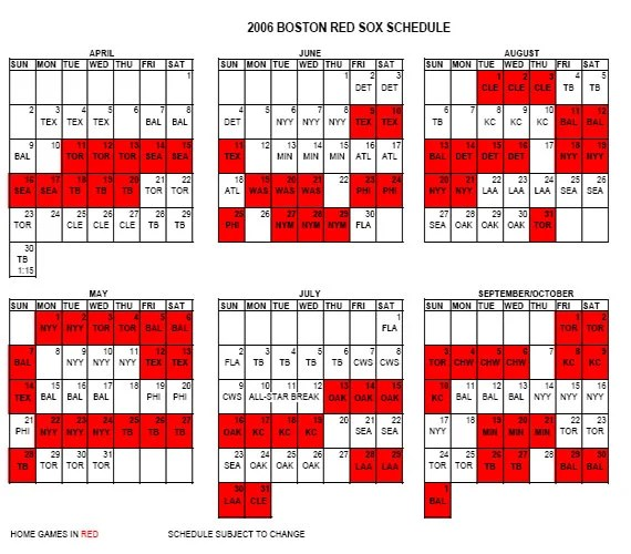 red sox schedule # 16