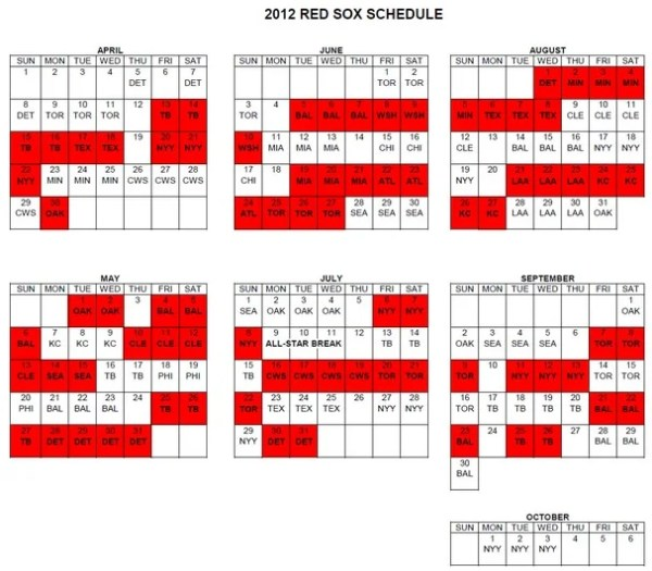 red sox schedule # 53