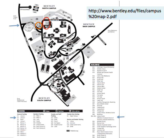 Screen shot of Bentley campus map