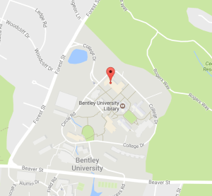 Bentley Campus map with Conference Center pin