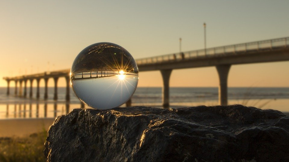 Sunrise through crystal ball