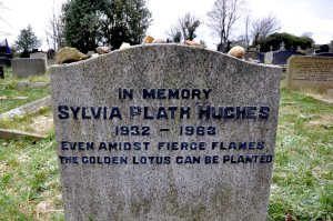 Sylvia Plath gravestone inscription: Even amidst firce flames the golden lotus can be planted