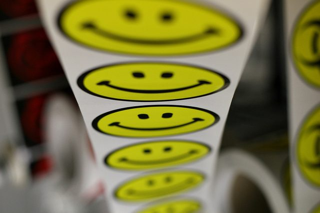 Smiley faces on a roll