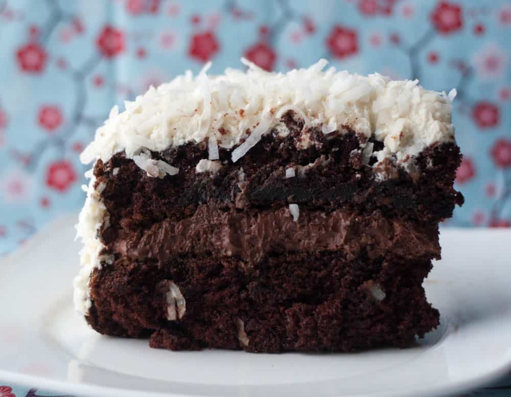 Chocolate Coconut Snowball Cake