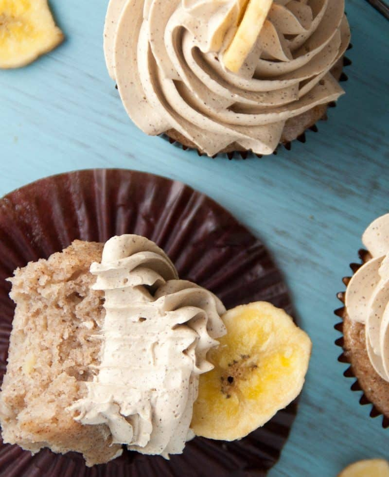 Banana Cupcakes with brown sugar cinnamon swiss meringue buttercream
