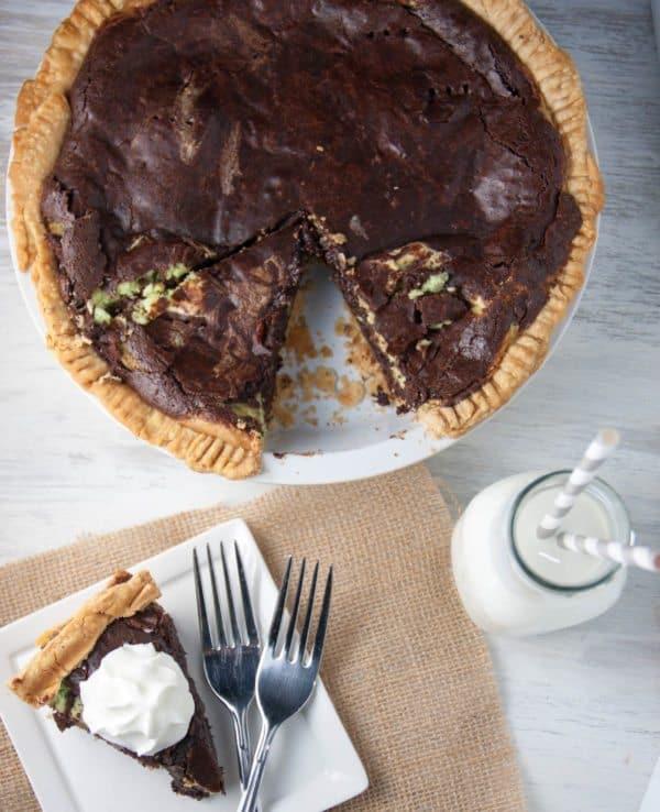 mint cheesecake layered brownie pie