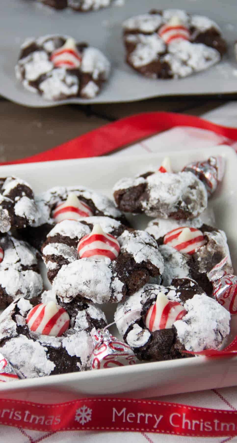 Candy Cane Kiss Chocolate Crinkles - Boston Girl Bakes