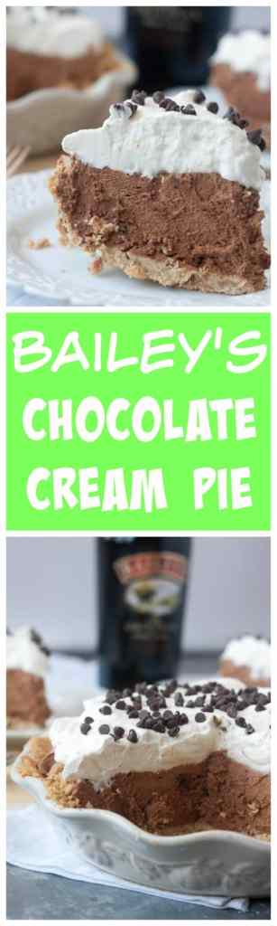 Bailey's Chocolate Cream Pie- only 6 ingredients for this fillings! It's super easy and so decadent and delicious! Perfect for St. Patricks Day! Pin now for later!