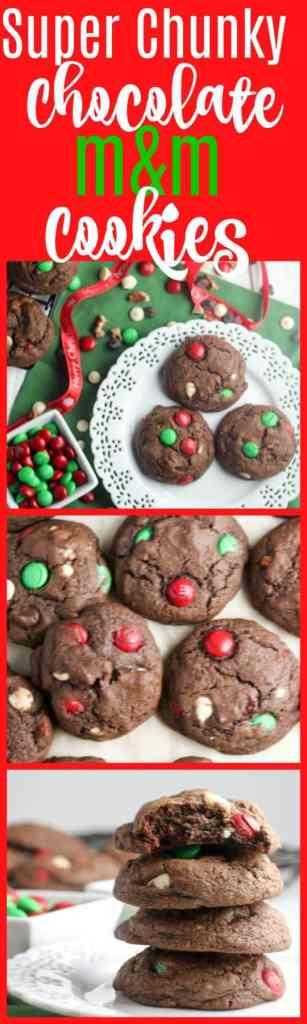 chocolate m&m cookies | christmas cookies | chocolate cookies | holiday cookies | m&m cookies