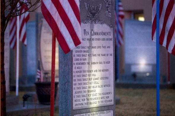 The Ten Commandments memorial at Bloomfield City Hall in Bloomfield, N.M. The U.S. Supreme Court on Monday sided with a lower court, the 10th US Circuit Court of Appeals, that ordered Bloomfield to remove the monument.