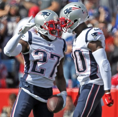 JC Jackson celebrates one of his two interceptions against the Bills.