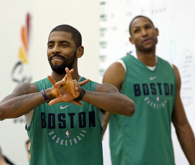 Waltham Ma Boston Celtics Kyrie Irving Left And Al Horford On The Court After Practice In Waltham On Sunday October