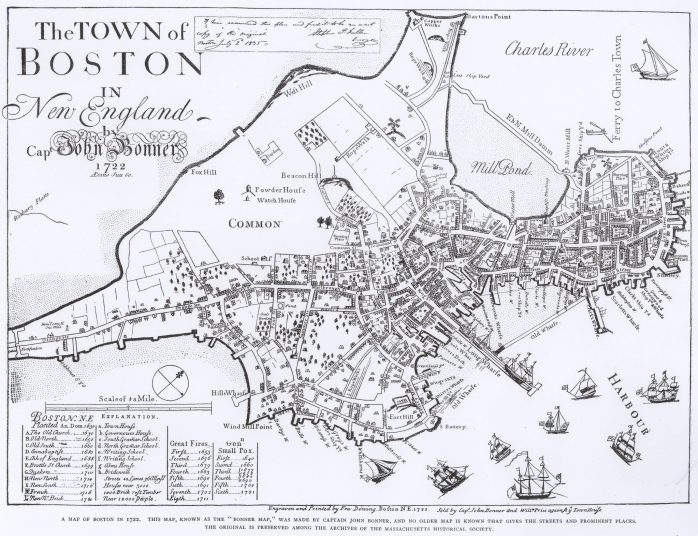 1722 Map of Boston by John Bonner