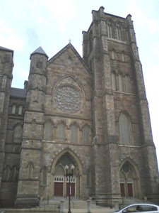 Cathedral of the Holy Cross in the South End. Institutions serving poorer immigrants thrived in the neighborhood and contributed to the departure of wealthier Protestant families.