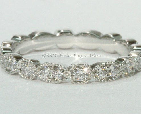 platinum diamond vintage antique inspired eternity wedding band