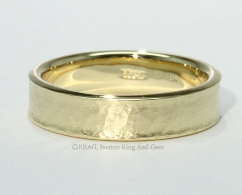 mens wedding band rose gold yellow gold platinum hammered