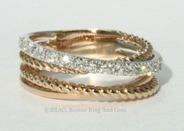 Rose gold and diamond layered rope ring