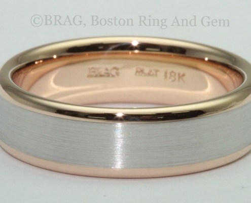 modern platinum gold men's wedding band