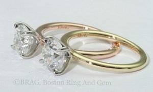 Two tone, 18k Yellow and Rose gold with platinum Solitaire Engagement Rings