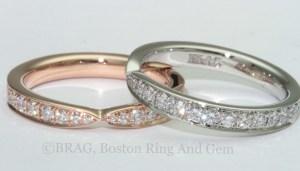rose gold platinum diamond eternity wedding band unique
