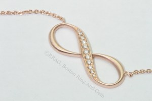 rose gold diamond infinity pendant necklace