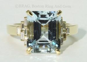Aqua and Diamond Gold Art Deco ring
