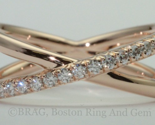 18k rose gold with French cut set diamonds crisscross ring