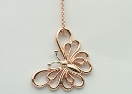 Rose and white gold Butterfly Pendant