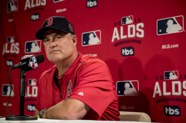 BOSTON, MA - OCTOBER 4: Manager John Farrell of the Boston Red Sox meets with the media during a press conference during a workout before game one of the American League Division Series against the Cleveland Indians on October 4, 2016 at Fenway Park in Boston, Massachusetts. (Photo by Billie Weiss/Boston Red Sox/Getty Images) *** Local Caption *** John Farrell