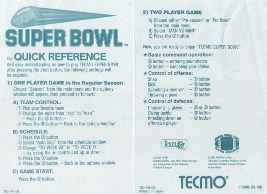 tecmo super bowl controls