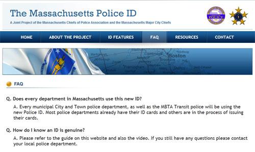 Massachusetts Police ID FAQ