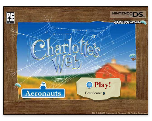 Charlotte's Web Mini Game - Start Screen