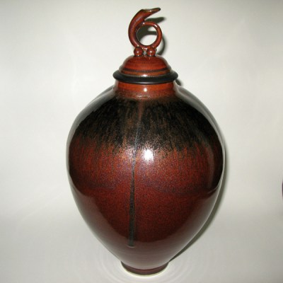 Lidded porcelain vessel by Andrew Boswell