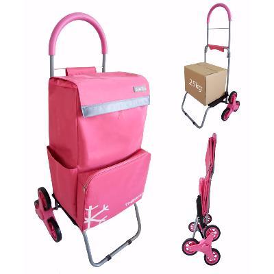 chariot de courses monte escalier 6 roues bo time double utilisation poche isotherme capacite 57l